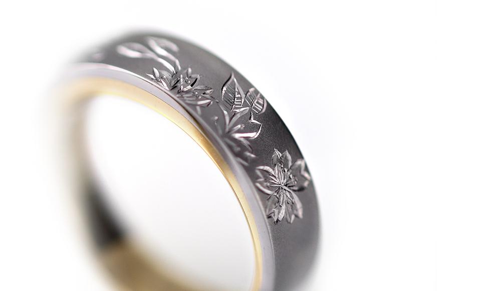 Yu[結]Pt.K18YG Japanese Engraving Ring 桜 リング