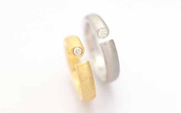 hisho[飛翔]K18YG/ WG diamond ring ダイヤモンドリング