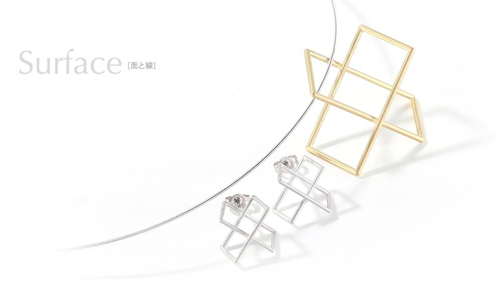 Surface[面と線] K18/ K18WG Earrings / modern contemporary japanese designers jewelry Pendant SHINKO STUDIO