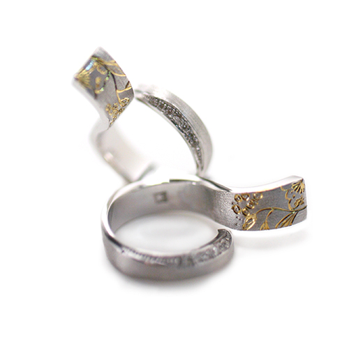 Tsuji-ga-hana[辻が花] – K18 Diamonds Japanese Engraving Ring