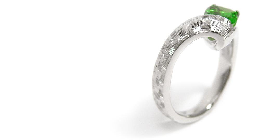 Pt900 Tavorite (Green Garnet)Ring custom made SHINKO STUDIO
