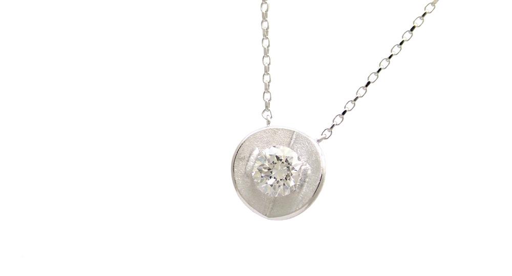 K18WG Diamond Pendant custom made SHINKO STUDIO