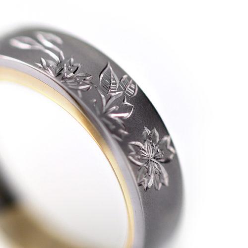 Pt900. Yu[結] Japanese engraving ring