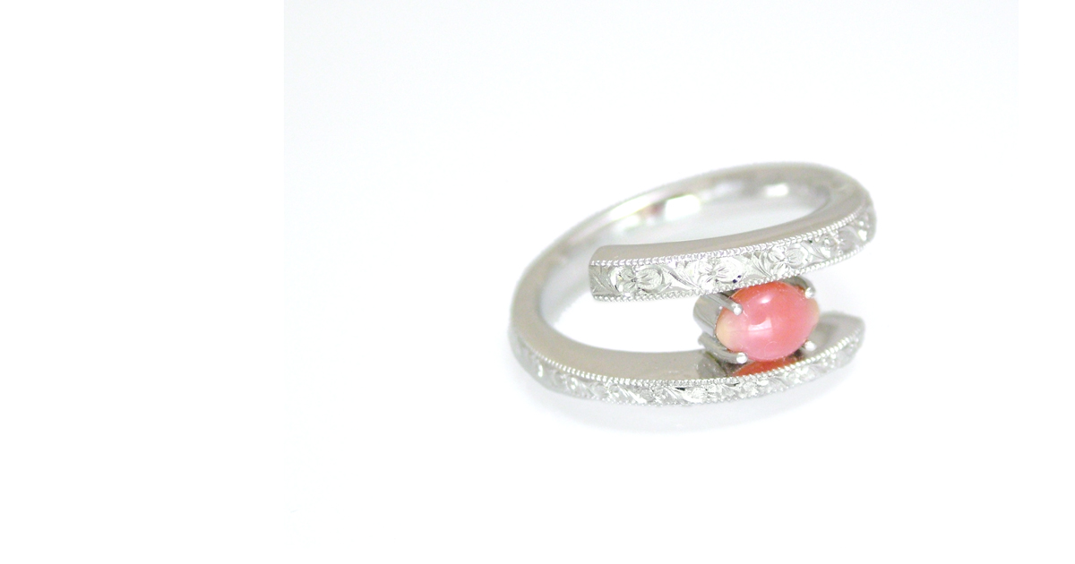 Conch pearl with Japanese engraving ring shinko studio