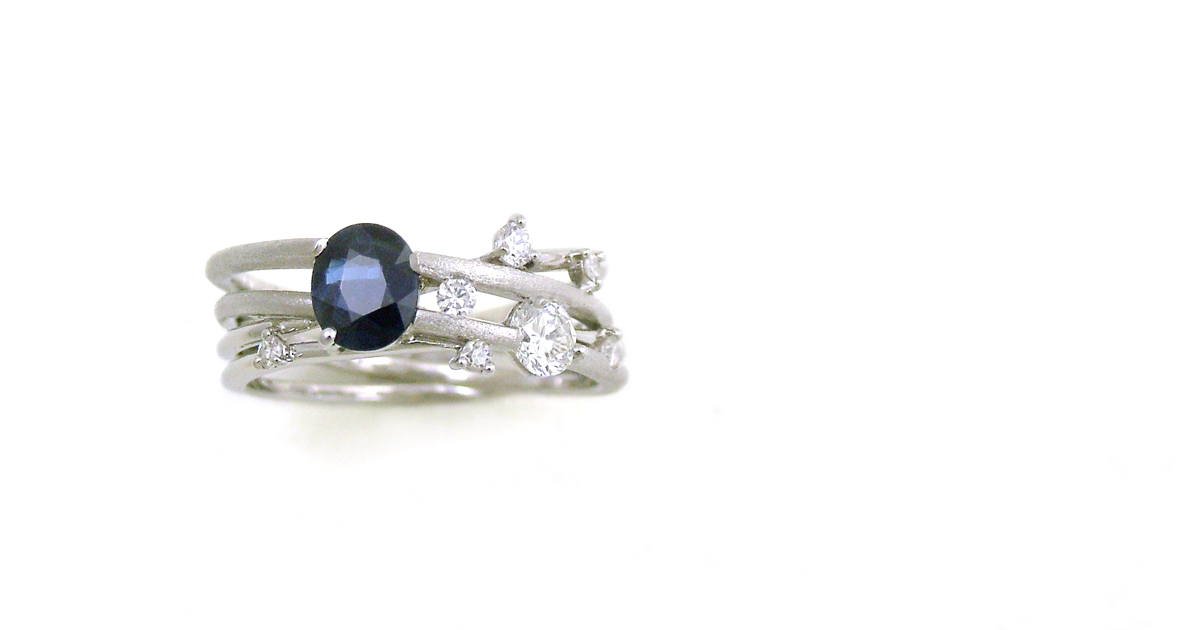 Pt900 sapphire & Diamonds Ring SHINKO STUDIO Custom order