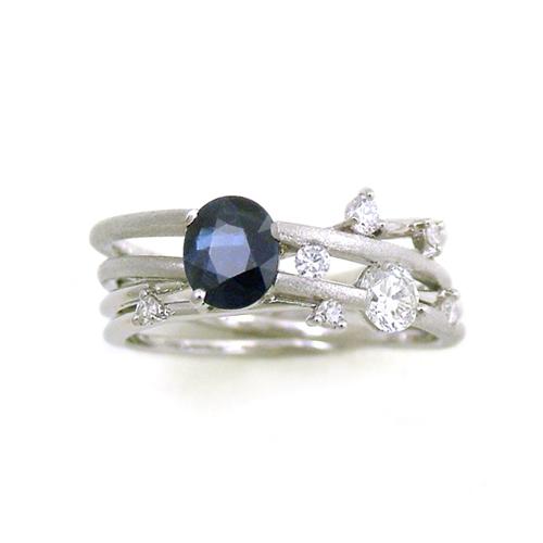Pt900 sapphire & Diamonds Ring SHINKO STUDIO Custom order