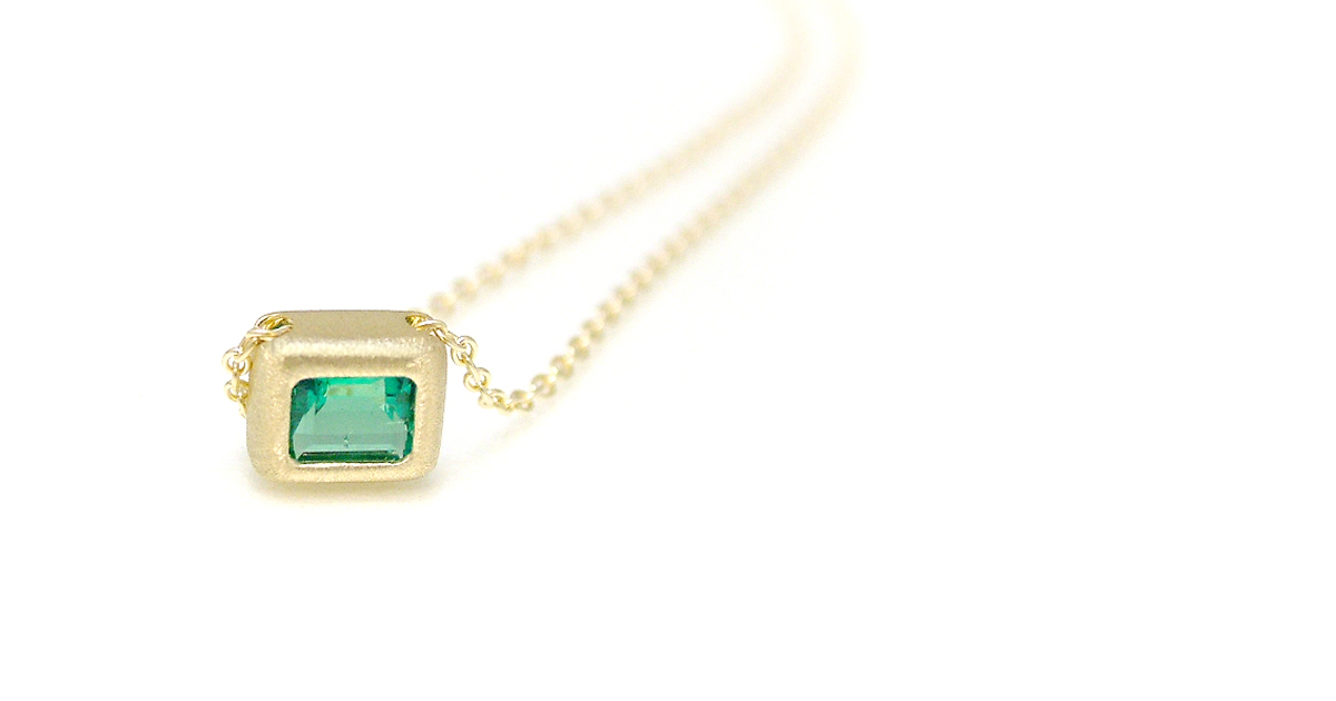 K18YG Emerald Pendant Custom Made jewelry SHINKO STUDIO