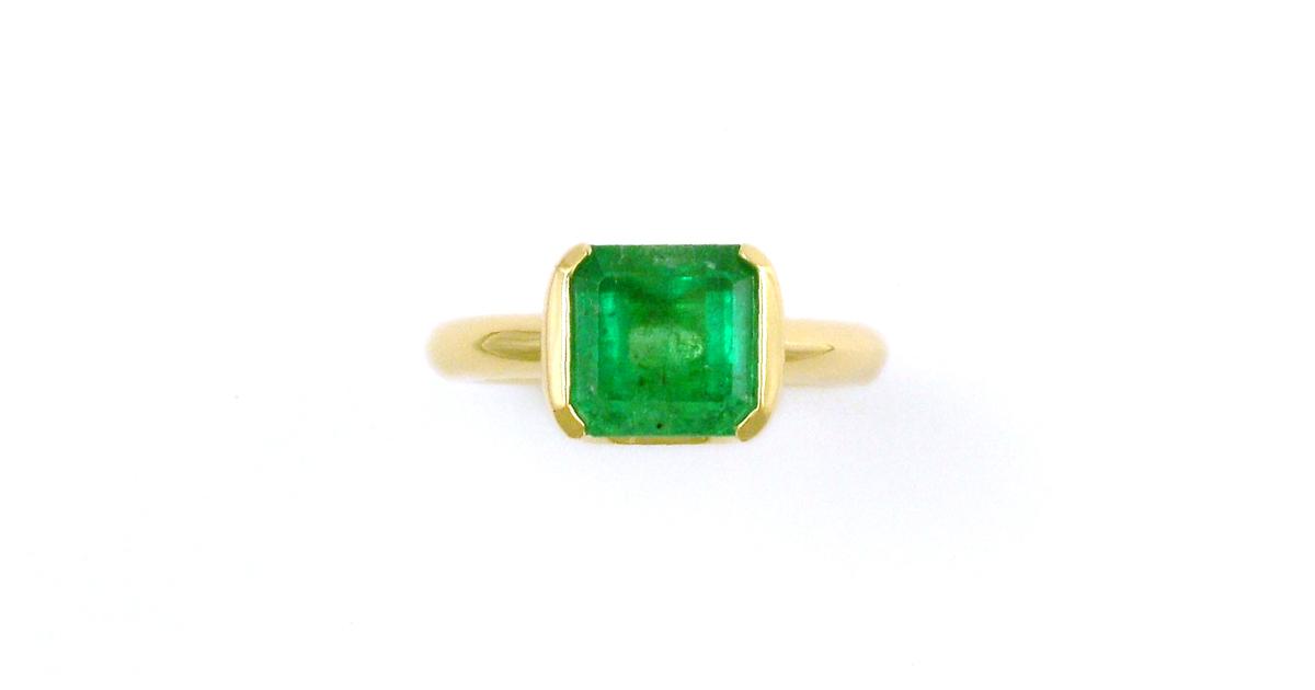K18YG Emerald Ring Custom made SHINKO STUDIO