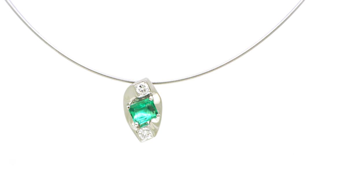 Pt900 Emerald Diamonds Pendant Custom Order SHINKO STUDIO