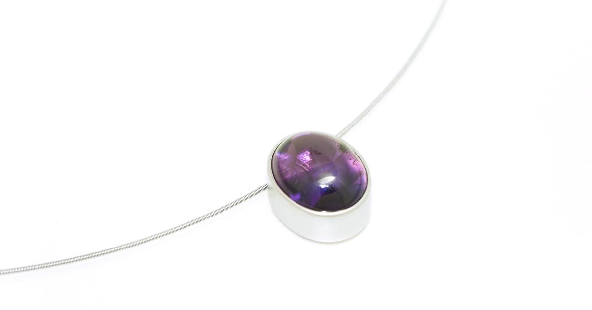 pt900-amethyst-pendant-bezelsetting custom order SHINKO STUDIO