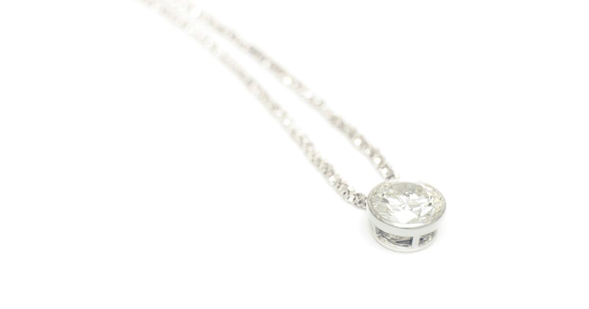Pt900 Diamond bezel setting Pendant custom Order SHINKO STUDIO
