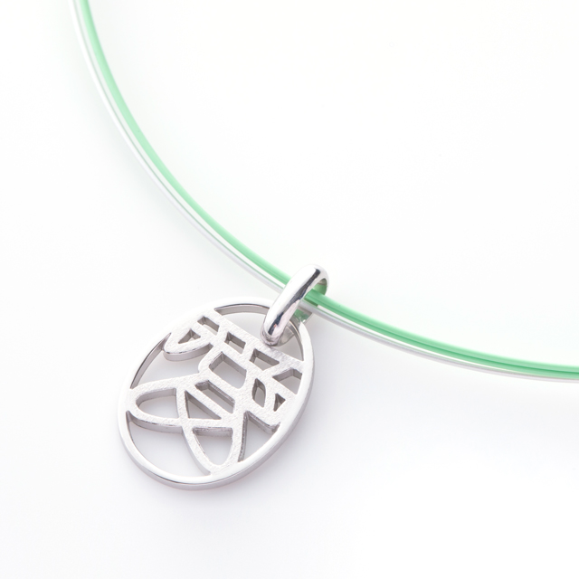 Kanji Charm Shin[漢字チャーム] sterling silver 925 charm stainless steel wire Pastel Green SHINKO STUDIO