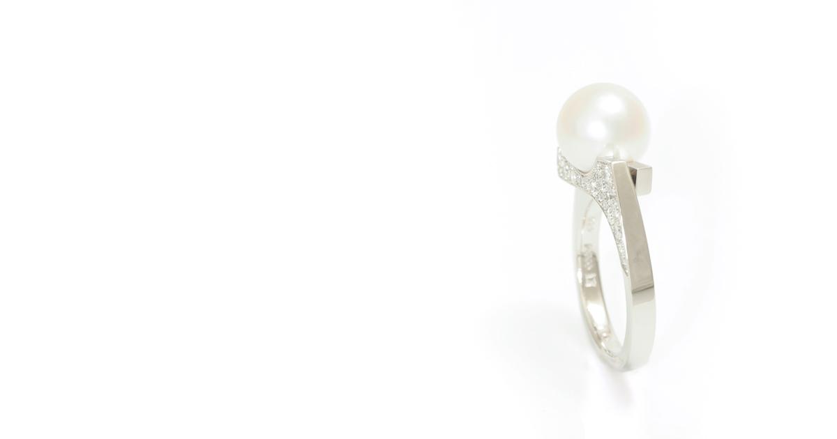 Pt Akoya Pearl Diamonds Ring Custom order SHINKO STUDIO