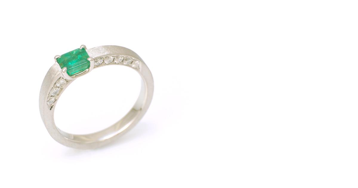 Pt900 Emerald Diamonds Ring Custom Order SHINKO STUDIO