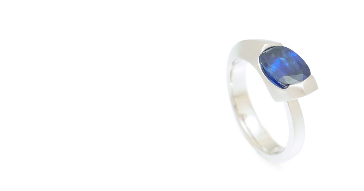 Pt Sapphire Ring Custom Made SHINKO STUDIO
