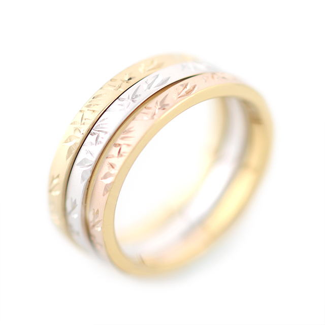 Take[竹]: Bamboo - Japanese Engraving Ring, Pt900, K18,Silver Rh/gold Plated