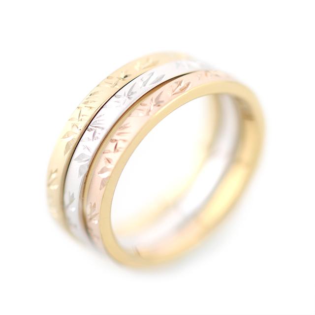 Take[竹]: Bamboo - Japanese Engraving Ring, Pt900, K18,Silver Rh/gold Plated