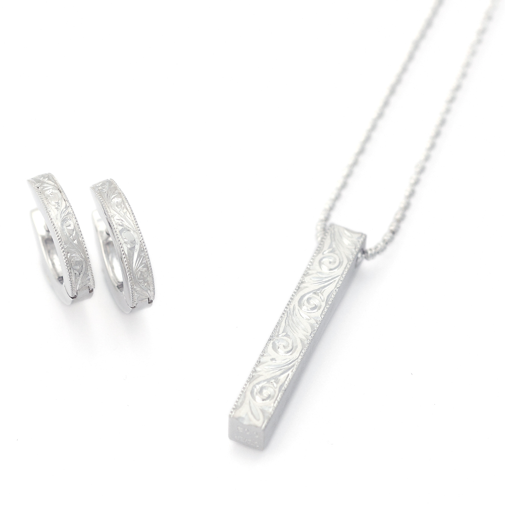 Subaru :: Necklace 925 Sterling Silver Japanese Engraving diamond reversible Pendant