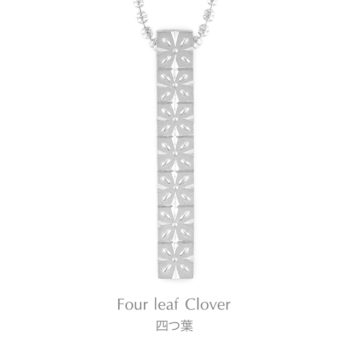 Four-leafed Clover 925 Sterling Silver Japanese Engraving diamond necklace