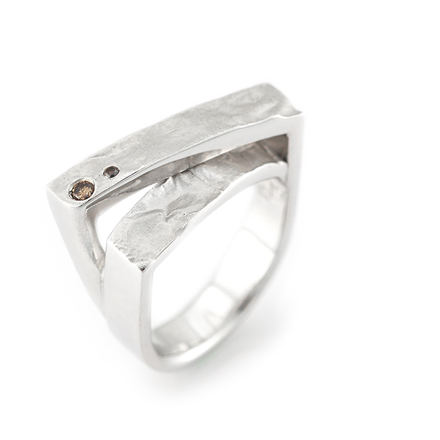Haku[箔] : Leaf- Sterling Silver Diamonds Ring