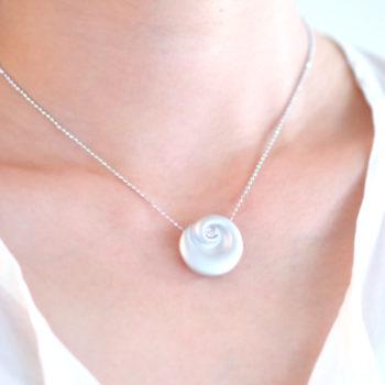 Uzu[渦] - Silver Diamonds Pendant Necklace SHINKOSTUDIO