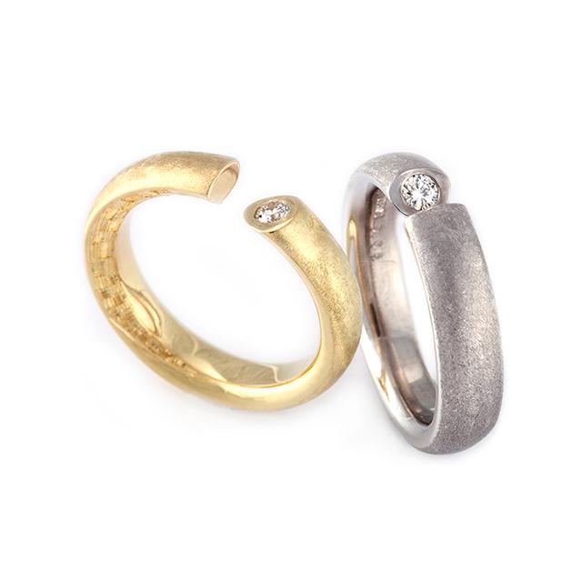Hisho[飛翔] - K18YG/WG Diamond Ring, Japanese Engraving