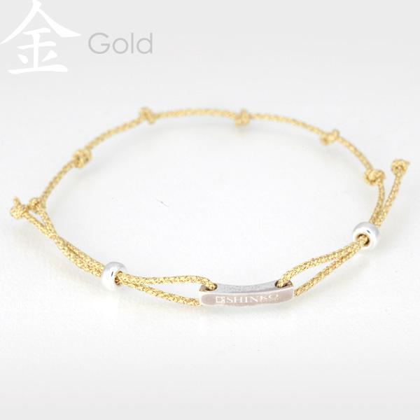 Gold - Ninja silk braided bracelet - Sterling Silver 925