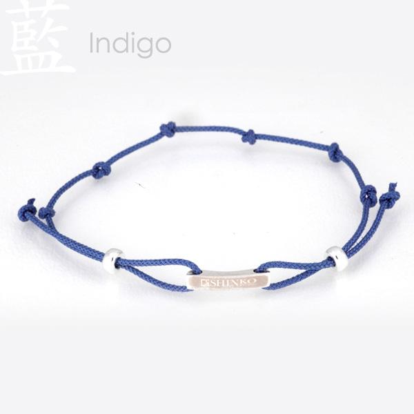 Indigo - Ninja silk braided bracelet - Sterling Silver 925