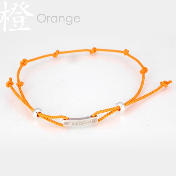 Orange - Ninja silk braided bracelet - Sterling Silver 925
