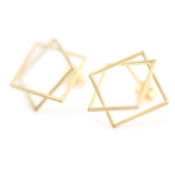 Surface[面と線] - K18YG/WG Earrings