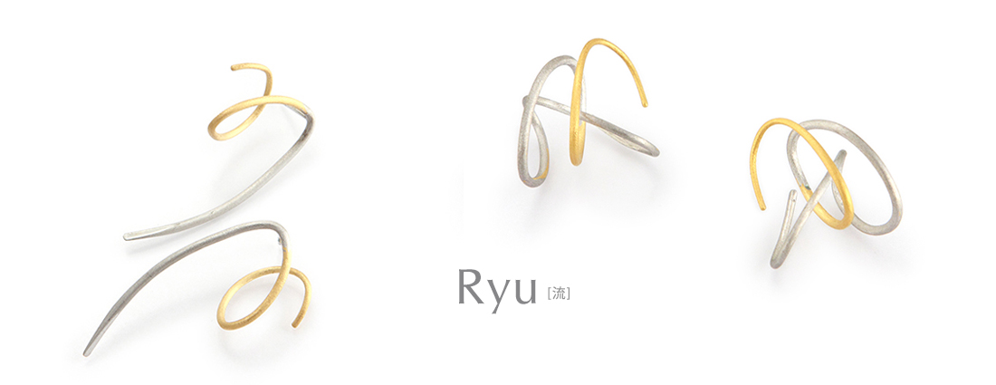 [japanese jewelry] earrings K18/silver925 Ryu[流]