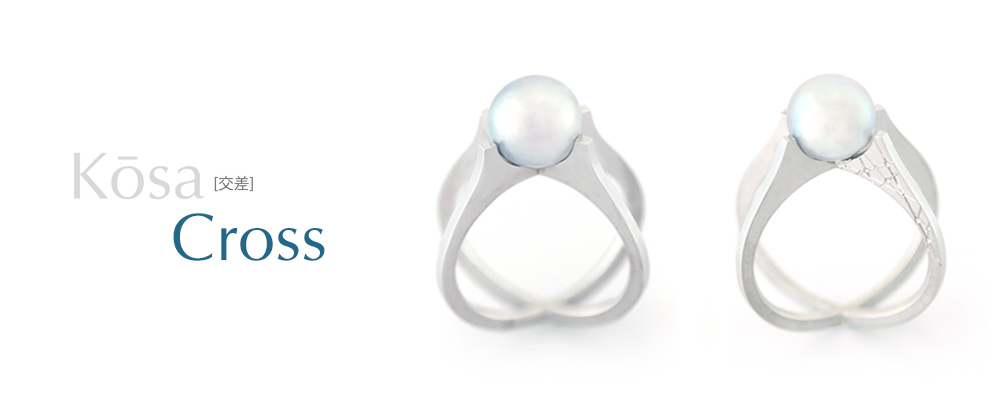 Kōsa[交差] Cross - Blue Gray Deformed Akoya Cultured Pearl Ring SHINKO STUDIO