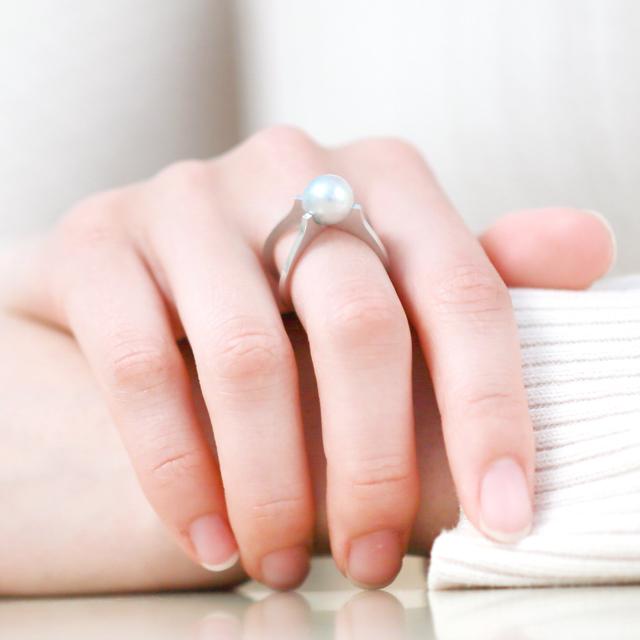 Kōsa[交差] Cross - Blue Gray Deformed Akoya Cultured Pearl Ring SHINKO STUDIO