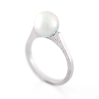 Kōsa[交差] Flat - Silver925/Pt900 Blue Gray Deformed Akoya Cultured Pearl Ring SHINKO STUDIO