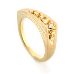 K18YG Mitsuru[満] Diamonds Ring with Japanese Engraving SHINKOSTUDIO