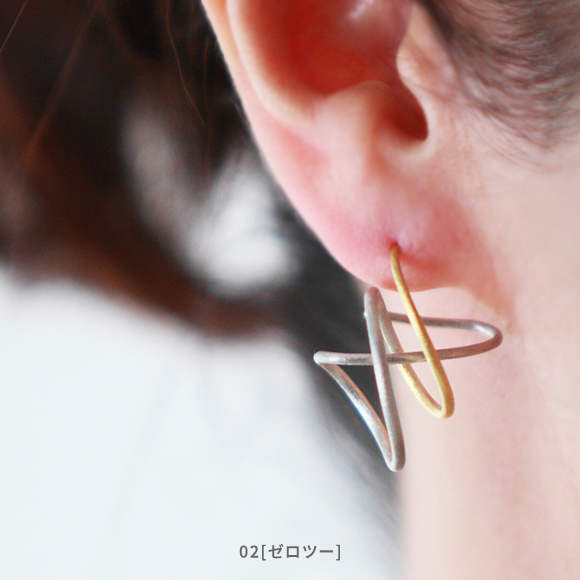 Ryu[流]- Silver925 Rhodium/Gold plated earrings Japanese jewelry