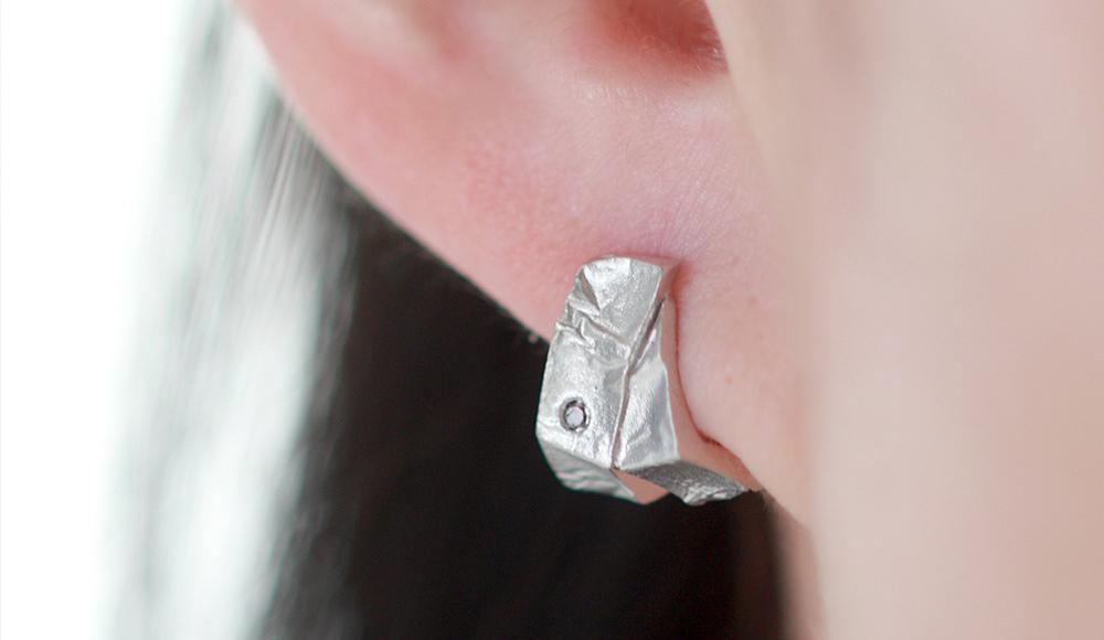 Haku[箔] SV925 Diamonds Earrings SHINKO STUDIO